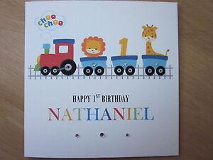 Personalised-Handmade-Boys-Train-1st-First-Birthday-Card-Son-Grandson-Nephew