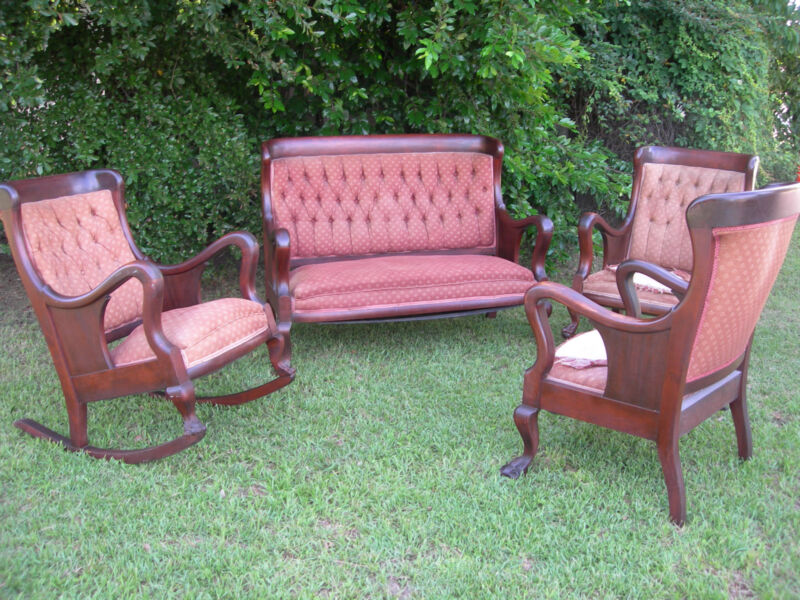 ~ ANTIQUE VICTORIAN FURNITURE COMPLETE PARLOUR SET FOUR PIECE WITH PAW FEET ~ ~
