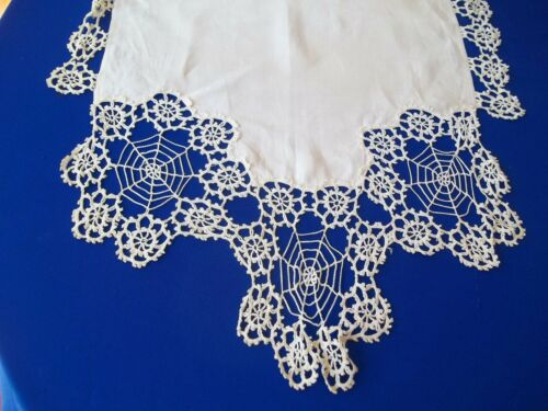Antique  Runner Linen Spider Crochet Motif Ends Handmade  pre 1920