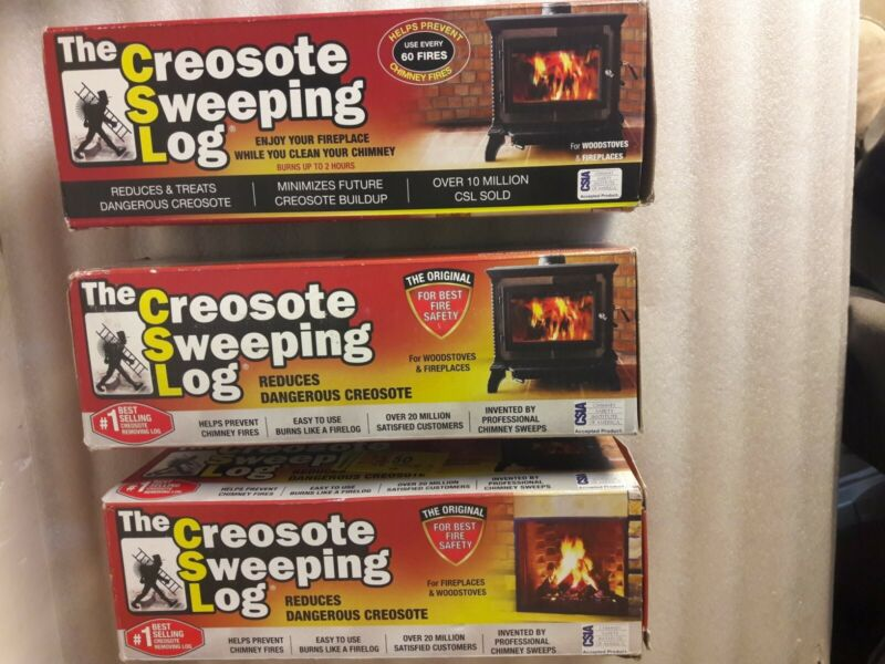 (3) Pack Creosote Sweeping Log For Fireplaces, Woodstoves, Chimneys Sealed