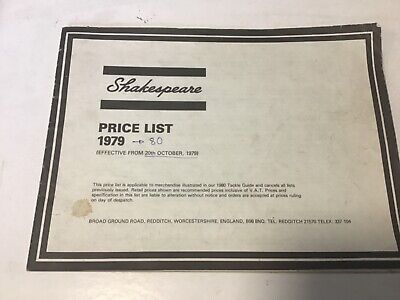 retro Shakespeare trade price list 1979-80 fishing tackle guide Catalogue