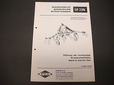 (Kuhn Manual Gyrotedder GF 23N Spare Parts List No.9014 178 03)
