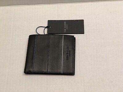 NWT Ted Baker Bourbon Striped piping bi-fold leather wallet ,Black/Multi Color Baker Bi Fold Wallet