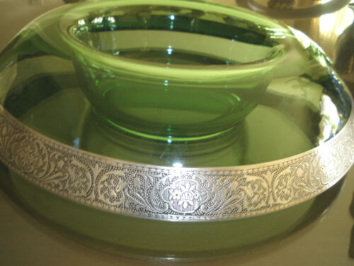 LRG STERLING SILVER ENCRUSTED EMERALD ETCHED DEPRESSION GLASS BOWL,CENTERPIECE