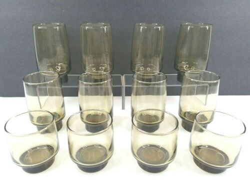 12 Libbey Tawny Accent Smoke Brown Vintage Tumbler Old Fashioned Drink Glass Set