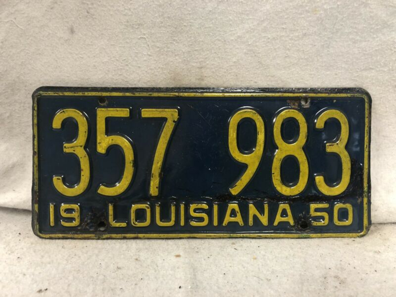 Vintage 1950 Louisiana License Plate