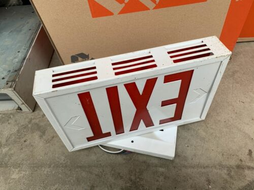 White Industrial Metal Exit Sign Two Sided Red Lettering
