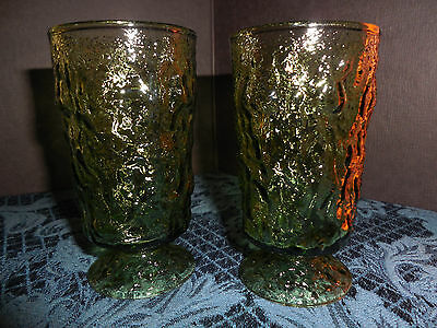 VINTAGE  Anchor Hocking Lido Milano Avocado Green  Juice Glasses SET OF  2