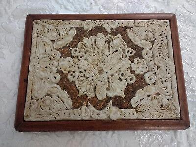 Vintage Heavy Bone & Wood Decorative Tray Decor