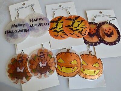 MOP Shell Earring Thanksgiving Halloween Feast Designed Earring Size 50mm](Halloween Feast)