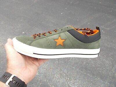 Converse ONE STAR LOW OX LEATHER UTILITY GREEN & ORANGE 162544C MENS SIZE 10.5