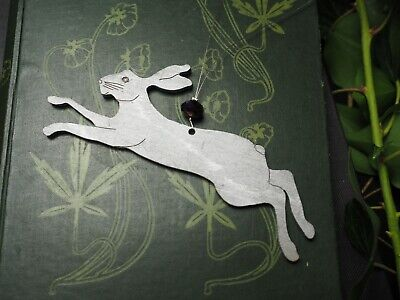 Small Leaping Silver Hare Yule Ornament - Pagan, Christmas Tree Decoration ()