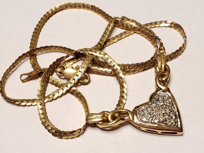 Vtg 5g 10k gold heart chain pendant Necklace Bin-3 Love Gift Box Scrap/Wear