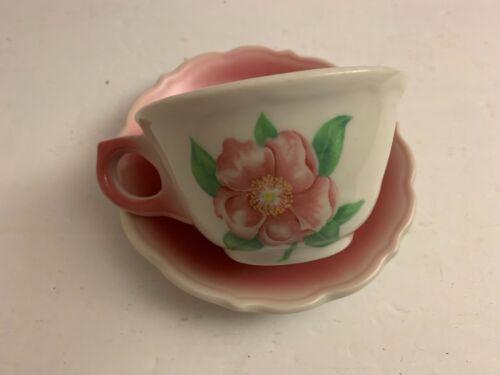 Vintage Syracuse China Cup & Saucer PINK Floral Rose Air Brushed Restaurant Ware