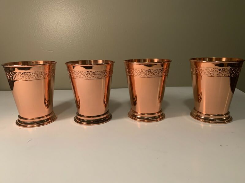 Absolut Vodka Elyx Set Of 4 BRIGHT Copper Mugs