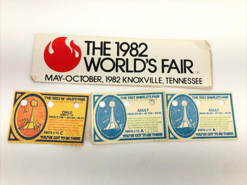 1982 Worlds Fair Ticket Stub Knoxville Tennessee Adult Child Admission & Sticker