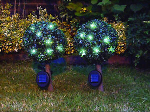 Gardenwize Pair of Solar 23cm Home Garden Decoration Light Up Bay Trees Plant