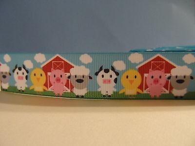 Red Barn Pig (Grosgrain Ribbon, Farm Animals & Red Barn, Cow Chicken Pig Sheep Blue Sky 1