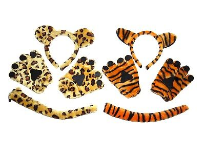 **NEW** BLACK CAT LEOPARD TIGER ANIMAL EARS TAIL AND PAWS MITTENS DRESS UP SETS