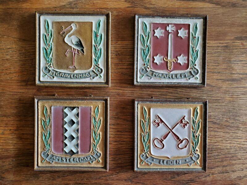 Delft Tiles ~ Coat of Arms ~ Gravenhage, Leiden, Amsterdam & Haarlem ~ Set of 4