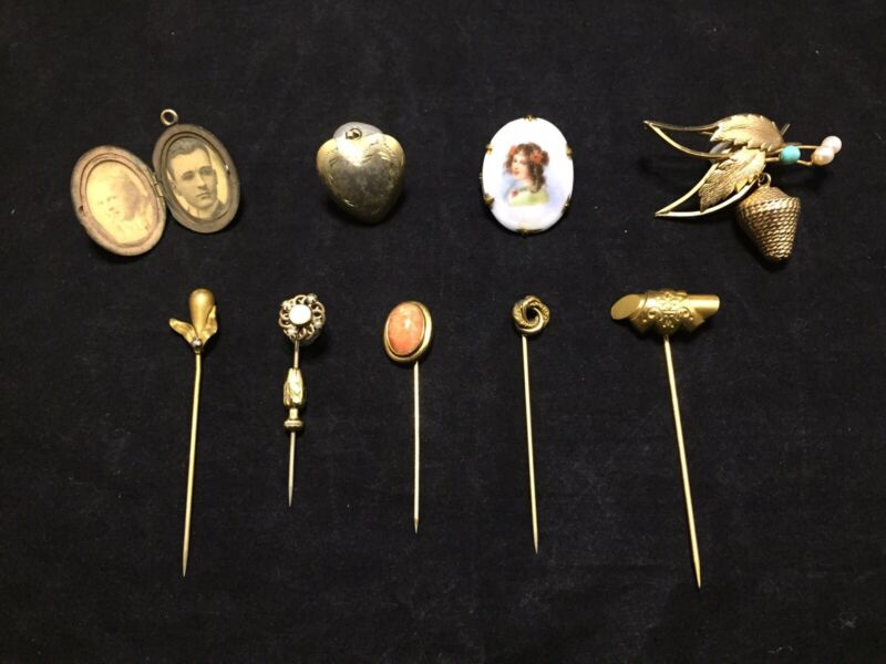Antique Gold Fill Jewelry Lot of 9 Stick Pins Photo Locket Pin Brooches Pendant