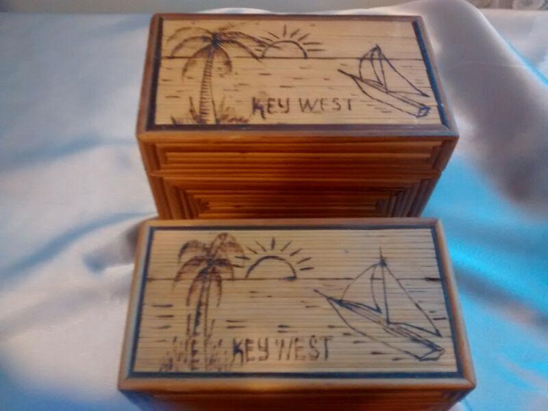 Key West Florida Decorative Boxes Set of 2 Jewelry Trinkets Shells Beach Ocean