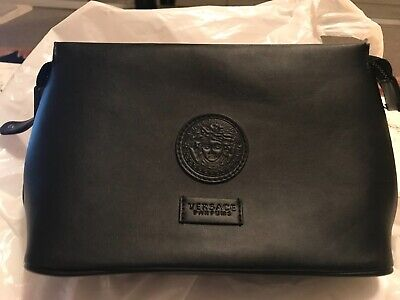 VERSACE PARFUMS Black Leather Toiletry Bag - with interior zipped pocket
