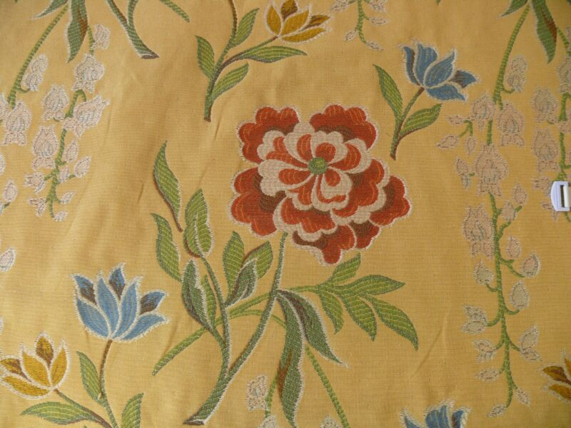 4.6Y KRAVET COUTURE GARDEN BLOSSOMS FLOWER TAPESTRY YELLOW GOLD RED BLUE ROSE09