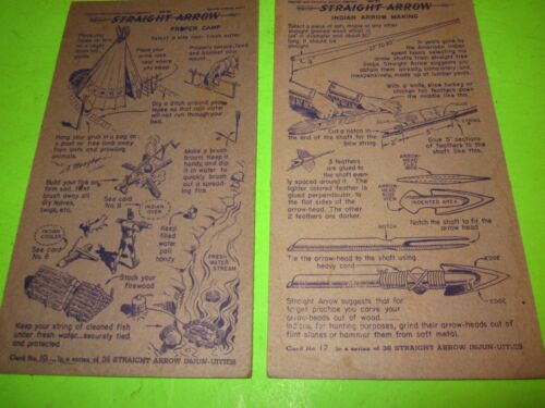 "2 Vintage 1949 ""Straight Arrow"" Cardboard Card Nabisco Shredded Wheat Packages"