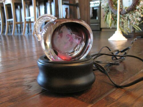 Caithness Glass SNOW WHITE Enchanted Apple Paperweight with Light Stand