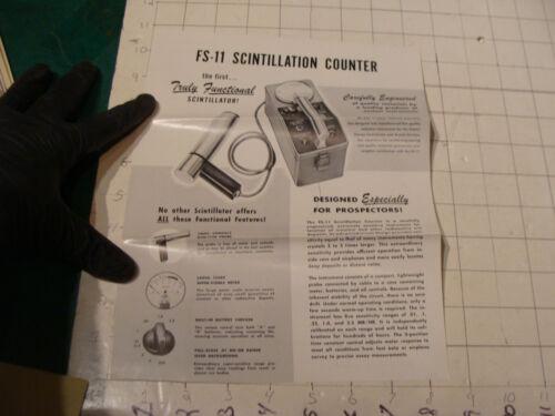 original Vintage 1955  ad sheet: FS-11 SCINTILLATION COUNTER