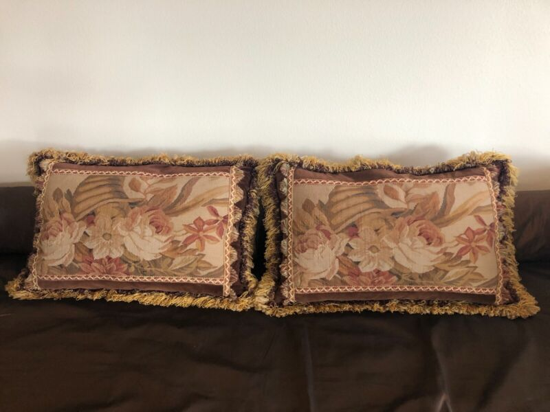 Pair of Aubusson Tapestry Fringed Pillows
