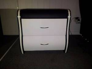 LEATHER BEDSIDE DRAWERS BLACK & WHITE Ashmore Gold Coast City Preview