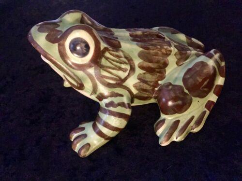 "Vintage BRUSH MCCOY Pottery 8"" FROG Large Garden Lawn Ornament Spotted Figurine"