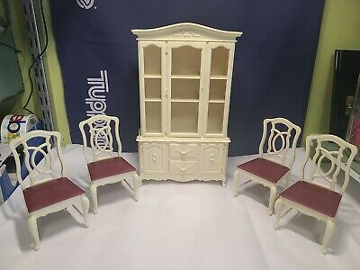 Marx Sindy Fashion Doll house Furniture china hutch and 4 red dining chairs 1978