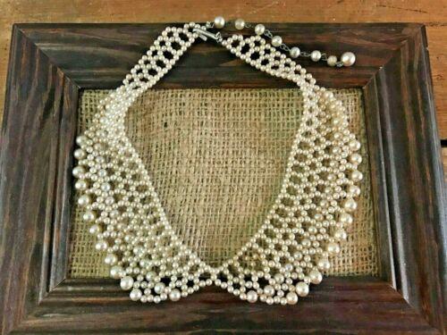 "Vtg Antique Estate Beaded Pearl Lace Collar JAPAN Bib Chandelier Necklace 15.5"""