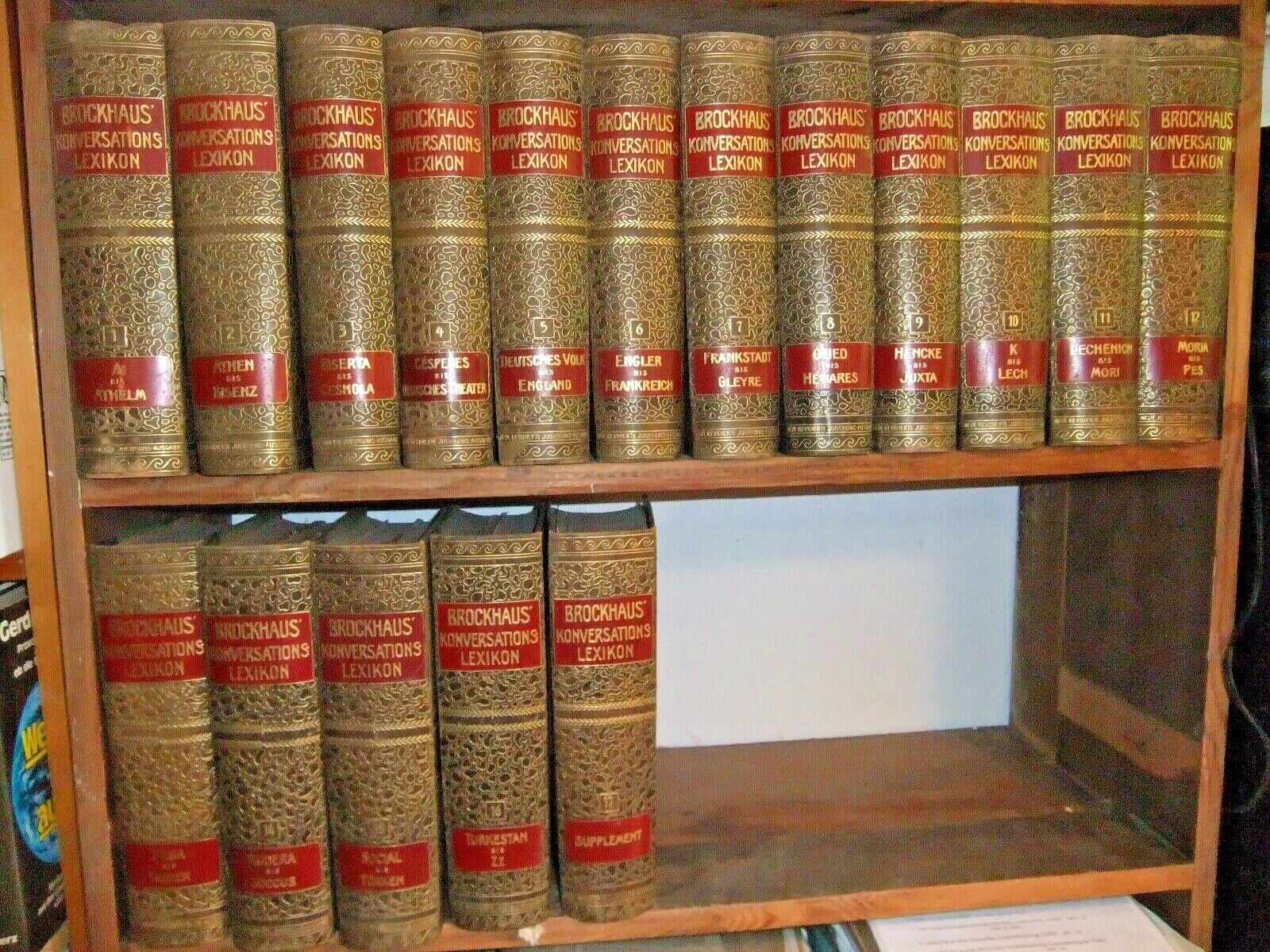 Brockhaus Konversationslexikon von 1908, 16 Bände + 1 Supplementband von1910