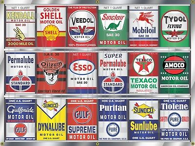 OIL CAN COLLECTION GAS STATION DISPLAY MURAL BANNER SIGN GARAGE ART SIGN 3' X 4' - Gas Station Sign Display