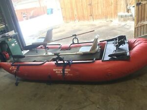 Pontoon Drift Boat with flat top and motor