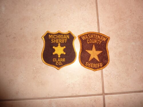 2 Collectible MICHIGAN COUNTY SHERIFF Police Patches WASHTENAW & CLARE COUNTY