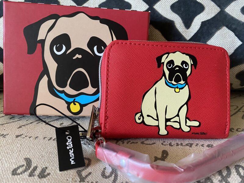 Marc Tetro Pug Dog Zip Around Small Wallet Wristlet Red Gift Box NEW