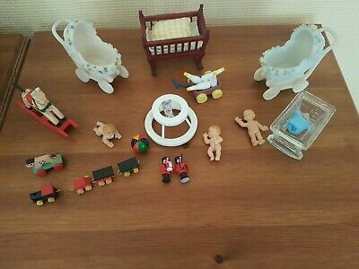 Vintage dolls house furniture nursery set peaks cradles toys dolls