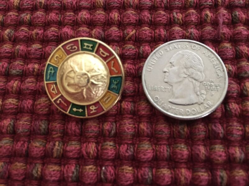 "Vintage JHB 7/8"" Zodiac Horoscope Moon Sun Wheel Gold Metal Shank Button"