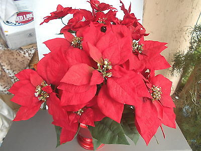 "RED Christmas Poinsettia Plant Bush Artificial Silk Flower 22"" Bouquet With Pot"