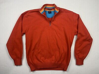 Paul & Shark Mens Medium Desert Light 1/4 Zip Sweater Red Cotton Pullover