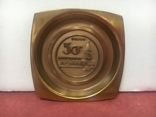 1950s  METAL COCA-COLA 50TH ANNIVERSARY COASTER-GOLD COLORED-NEAR MINT