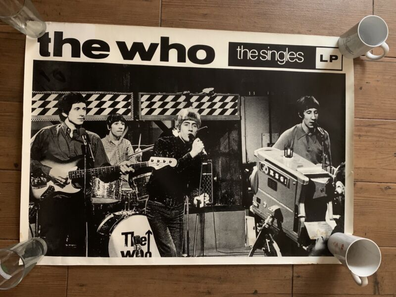 ORIGINAL THE WHO THE SINGLES LP 1984 VINTAGE MUSIC PROMO POSTER