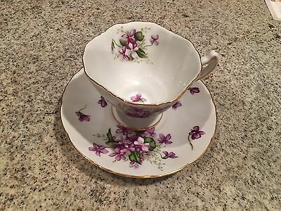 ROSETTI SPRING VIOLETS HAND PAINTED CHINA CUP AND SAUCER OCCUPIED JAPAN