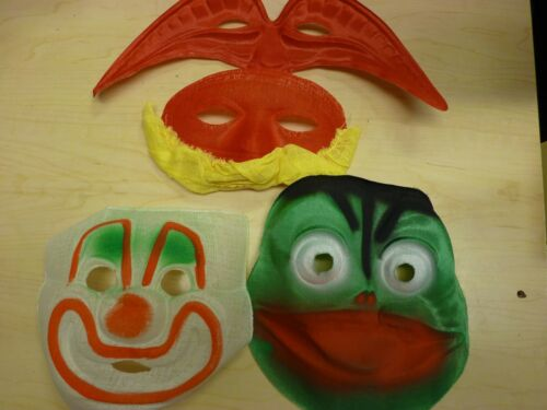 Lot of 4 Vintage Mid-Century Gauze / Starched Fabric Halloween Costume Masks