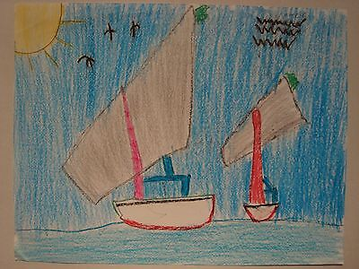 CHINESE JUNK SAILBOAT RACE KID DRAWING BY 9 YEAR OLD ARTIST RACING IN OPEN WATER, used for sale  Forest Hills